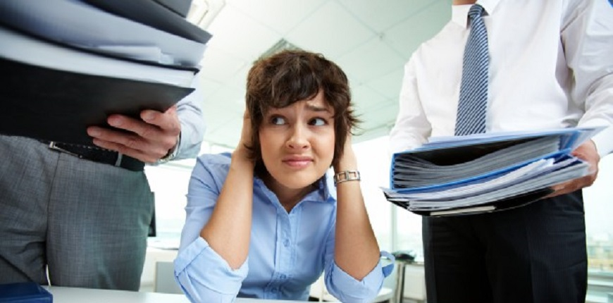 stressed woman at office